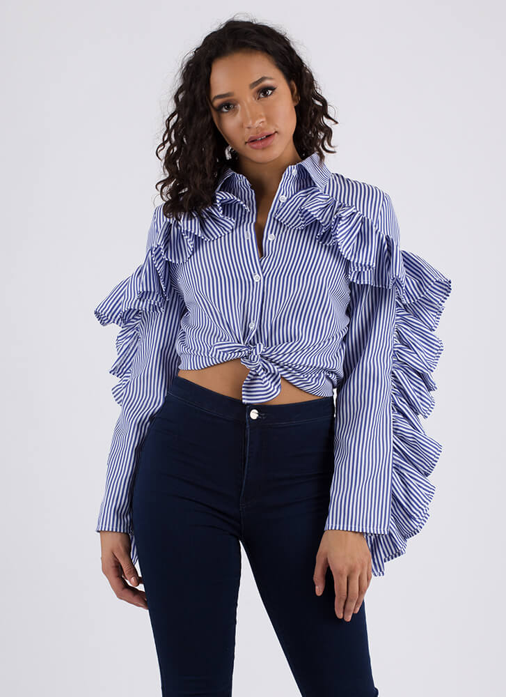 Cowgirl Chic Striped Ruffled Blouse BLUE