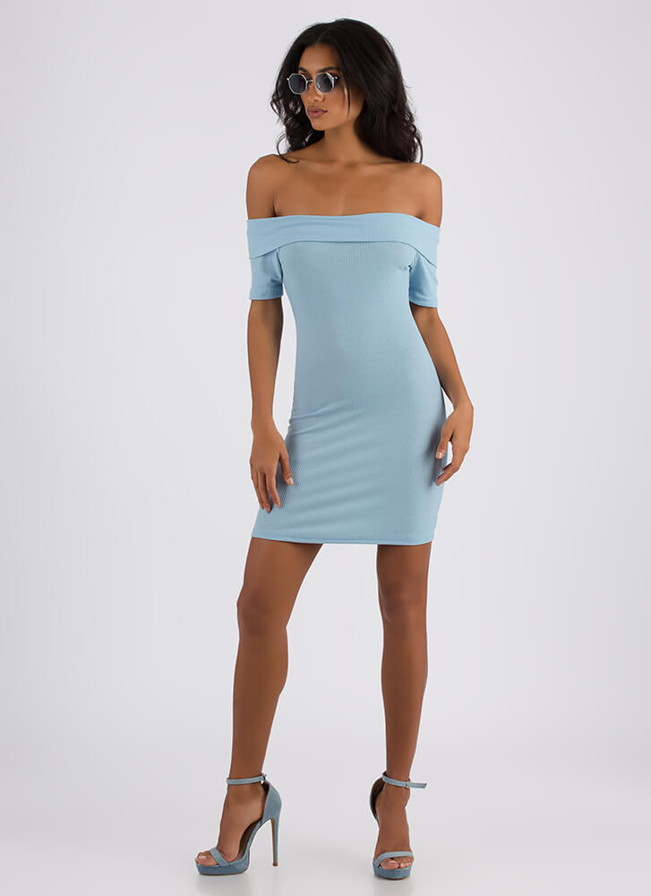 Simple As That Ribbed Off-Shoulder Dress BABYBLUE