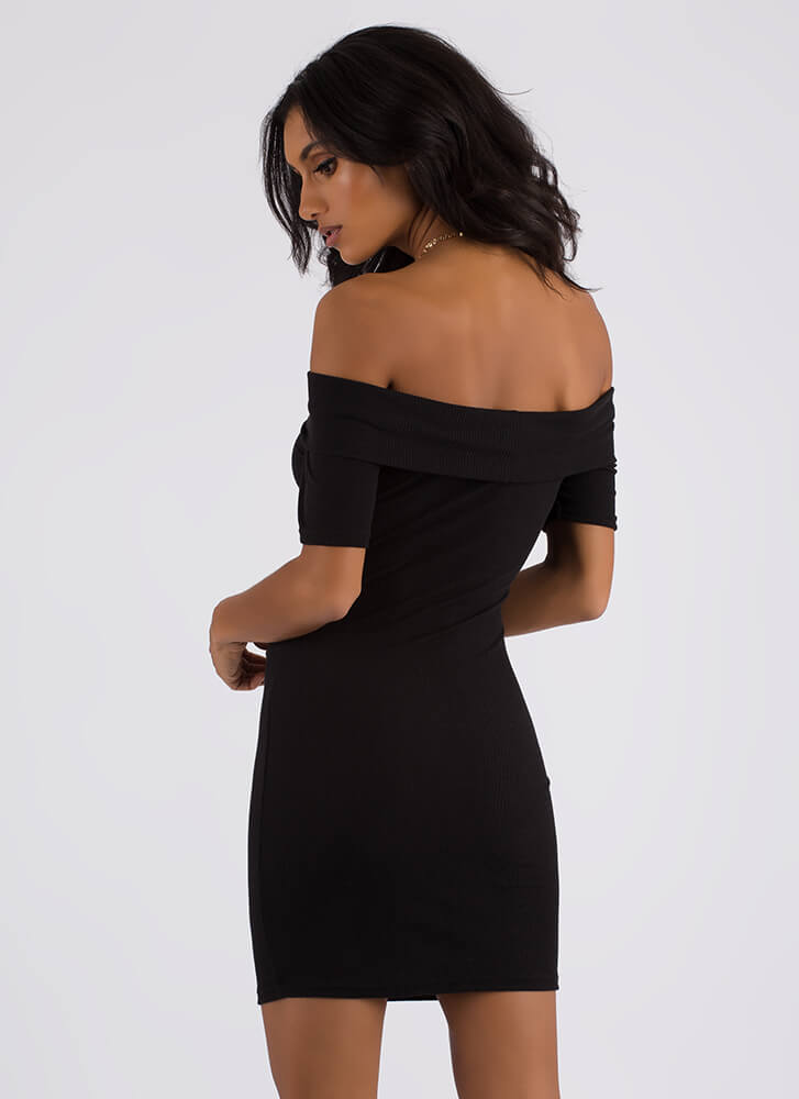 Simple As That Ribbed Off-Shoulder Dress BLACK