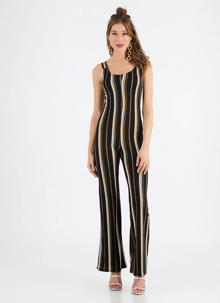 Look Me Up And Down Striped Jumpsuit BLACK