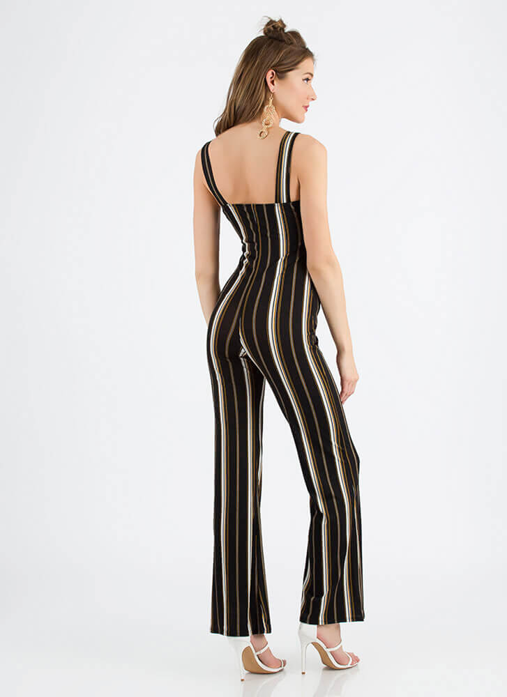 Look Me Up And Down Striped Jumpsuit BLACK (You Saved $23)