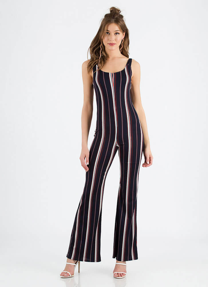 Look Me Up And Down Striped Jumpsuit NAVY