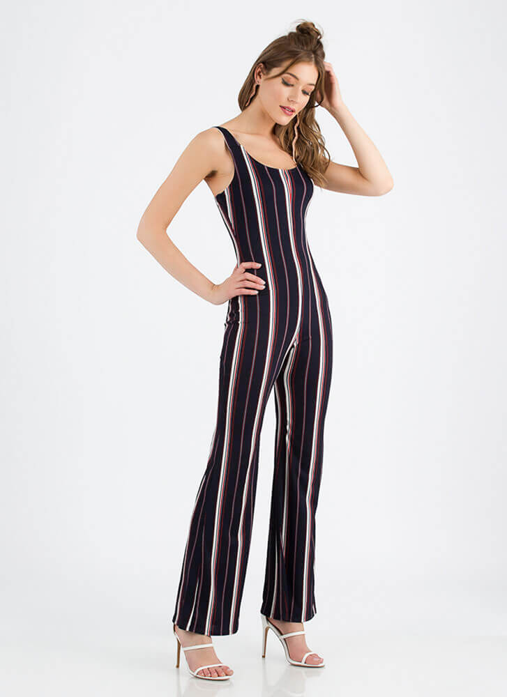 Look Me Up And Down Striped Jumpsuit NAVY (You Saved $23)