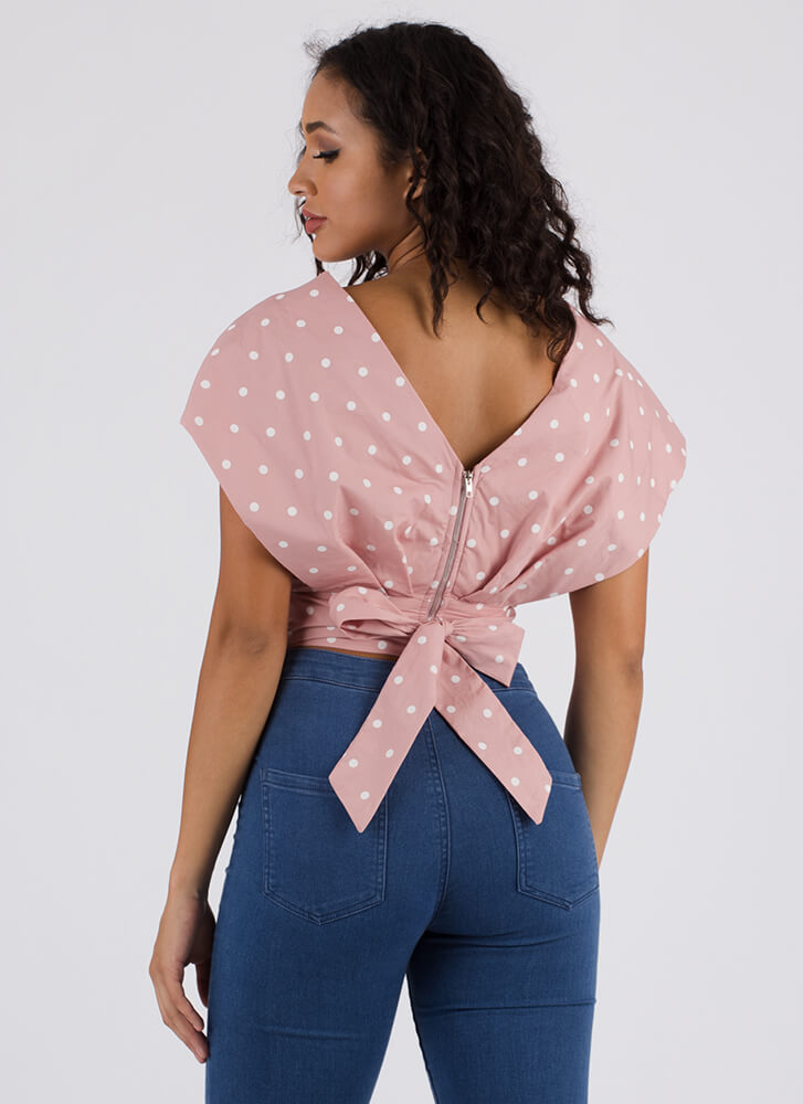 Carnival Layered Polka Dot Crop Top PINK