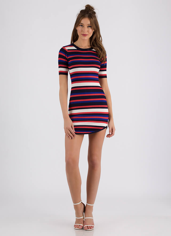 Simply Striped Rib Knit Minidress CORALMULTI (Final Sale)