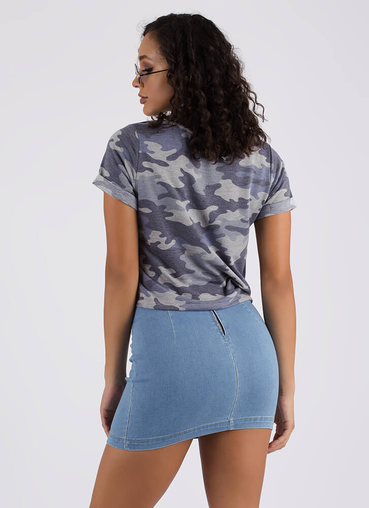 Pull Ranks Faded Camo Print Top BLUE