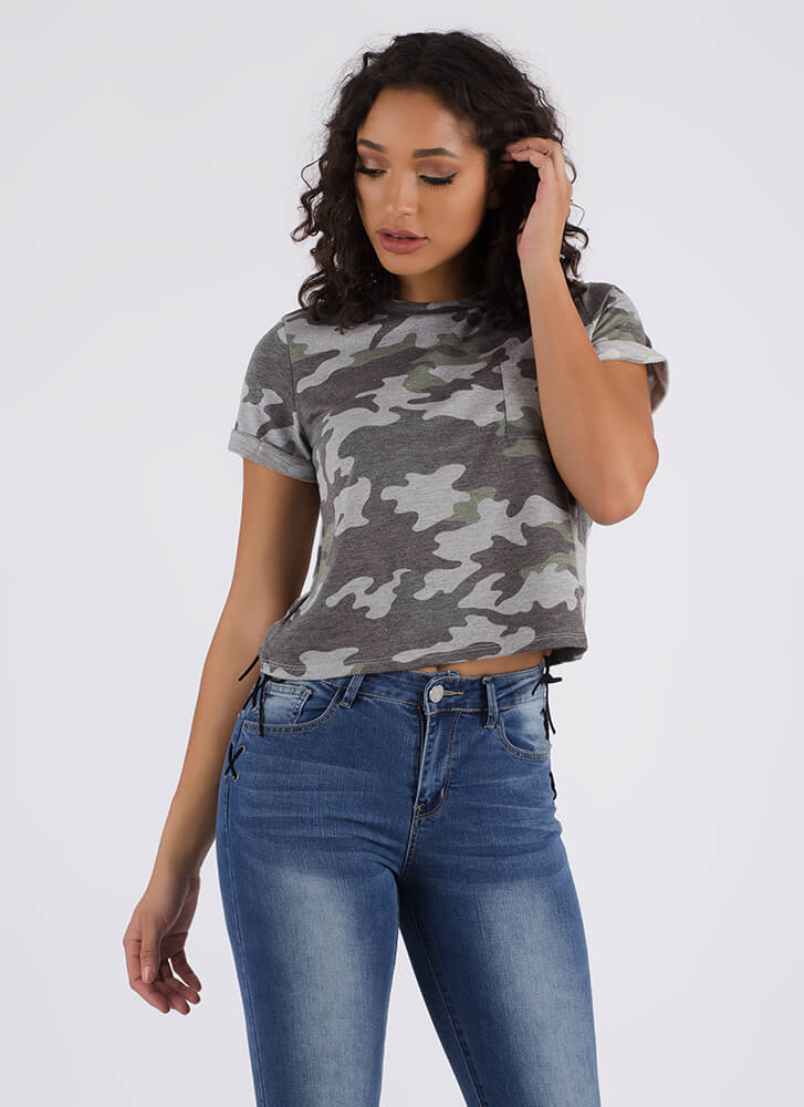 Pull Ranks Faded Camo Print Top GREEN