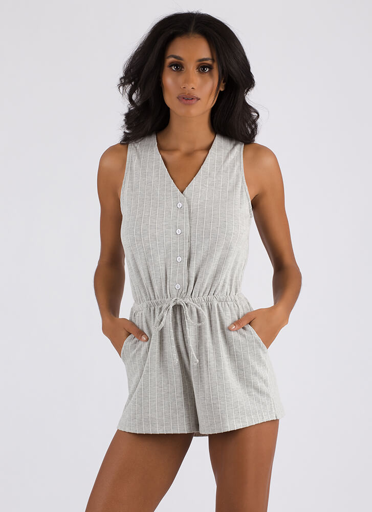 Home Run Button-Up Pinstriped Romper HGREY