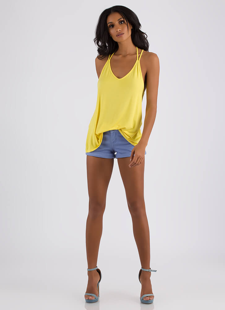 Strappy Returns Caged-Back Tank Top YELLOW
