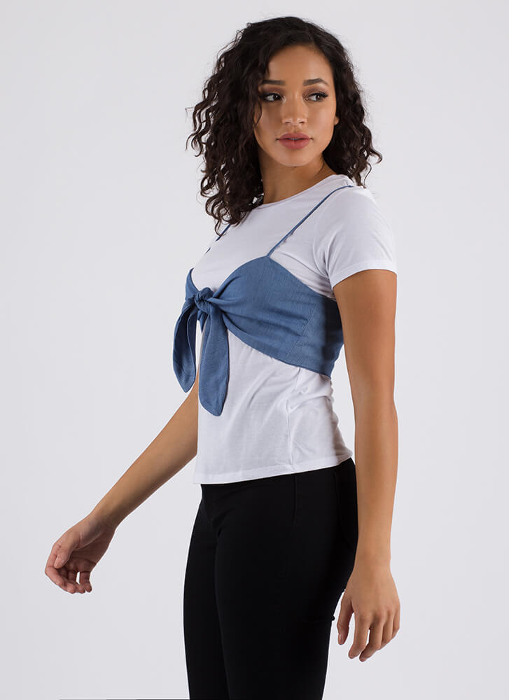 Adored By All Knotted Layered Top LTBLUE