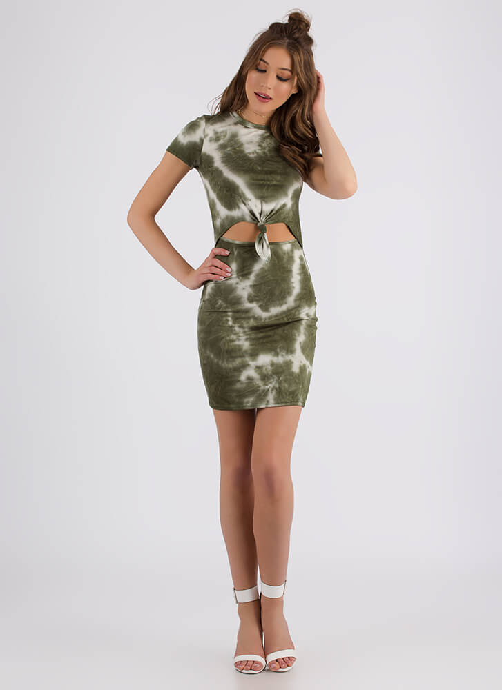 In Knots Cut-Out Tie-Dye Minidress OLIVE