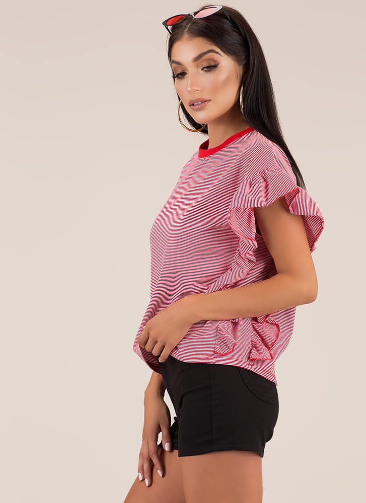 Frilly Atmosphere Striped Ruffled Top RED