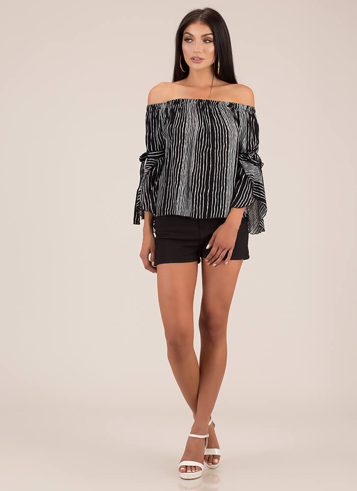 Draw The Line Off-Shoulder Striped Top BLACKWHITE (Final Sale)
