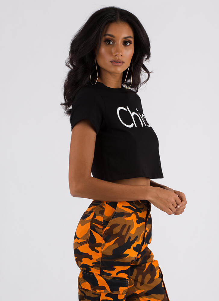 Let Your Chic Flag Fly Graphic Crop Top BLACK