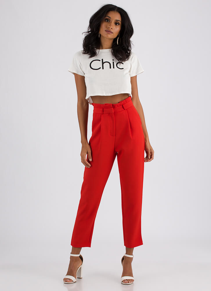 Let Your Chic Flag Fly Graphic Crop Top WHITE