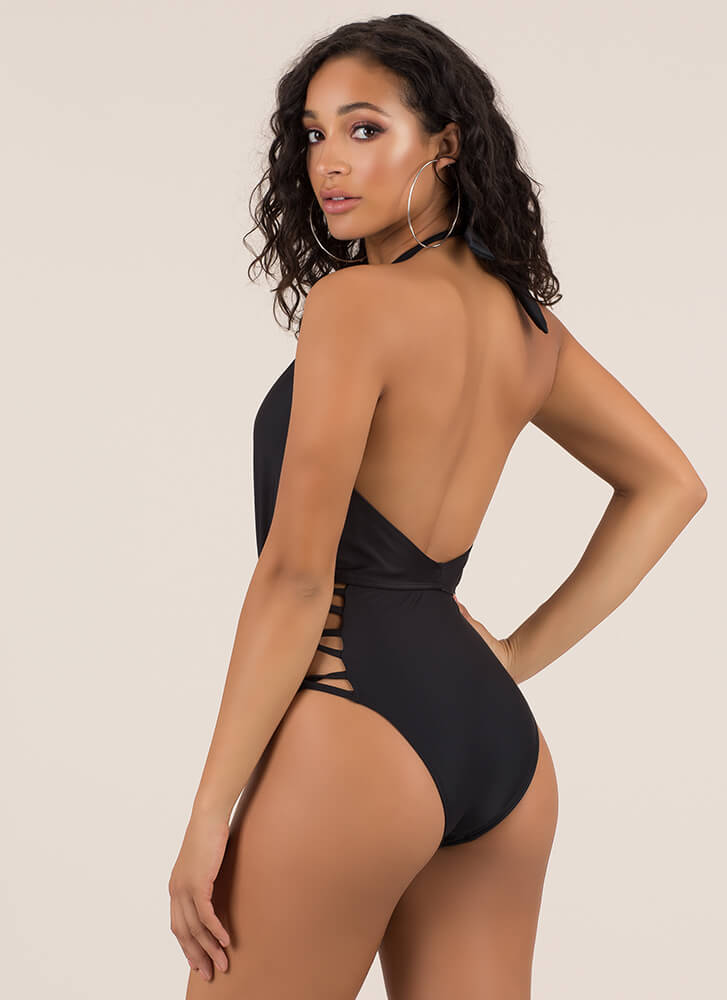 In The Loops Plunging Halter Swimsuit BLACK (Final Sale)