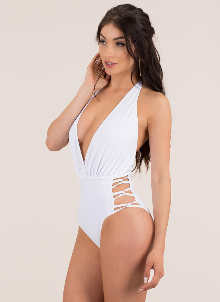 In The Loops Plunging Halter Swimsuit WHITE (Final Sale)