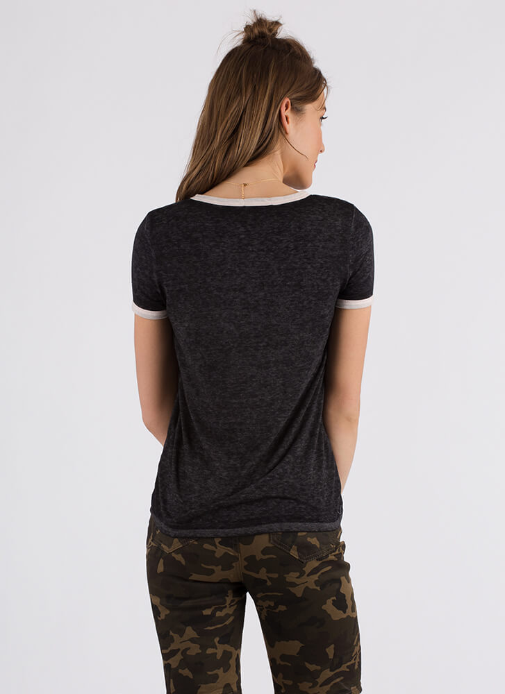 Cool And Casual Heathered Ringer Tee BLACK