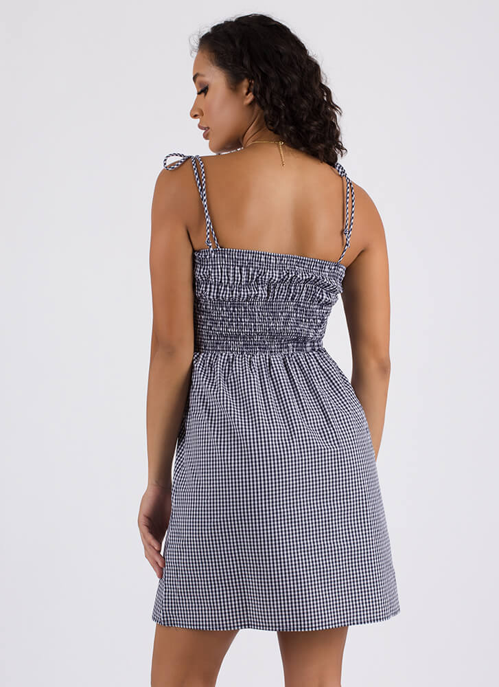 Pretty As A Picnic Tied Gingham Dress NAVY