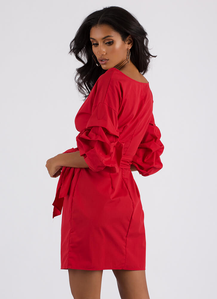 Wrap Icon Tied Puffy Sleeve Dress RED (You Saved $13)