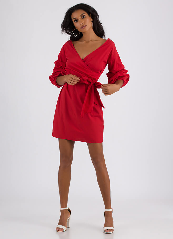 Wrap Icon Tied Puffy Sleeve Dress RED