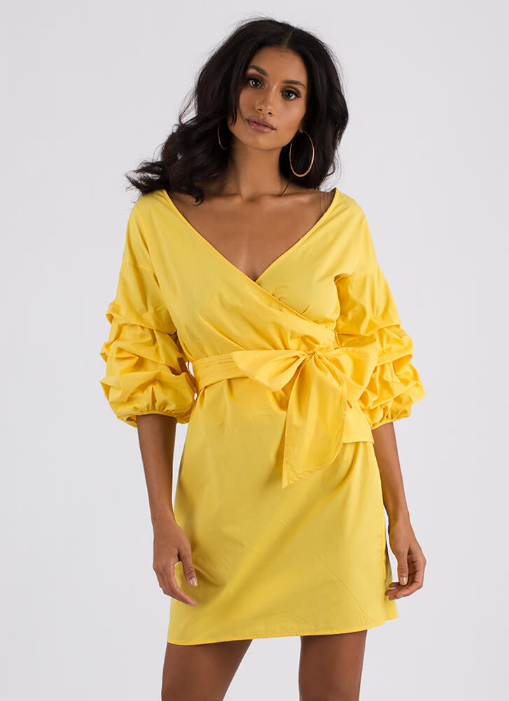 Wrap Icon Tied Puffy Sleeve Dress YELLOW (You Saved $13)