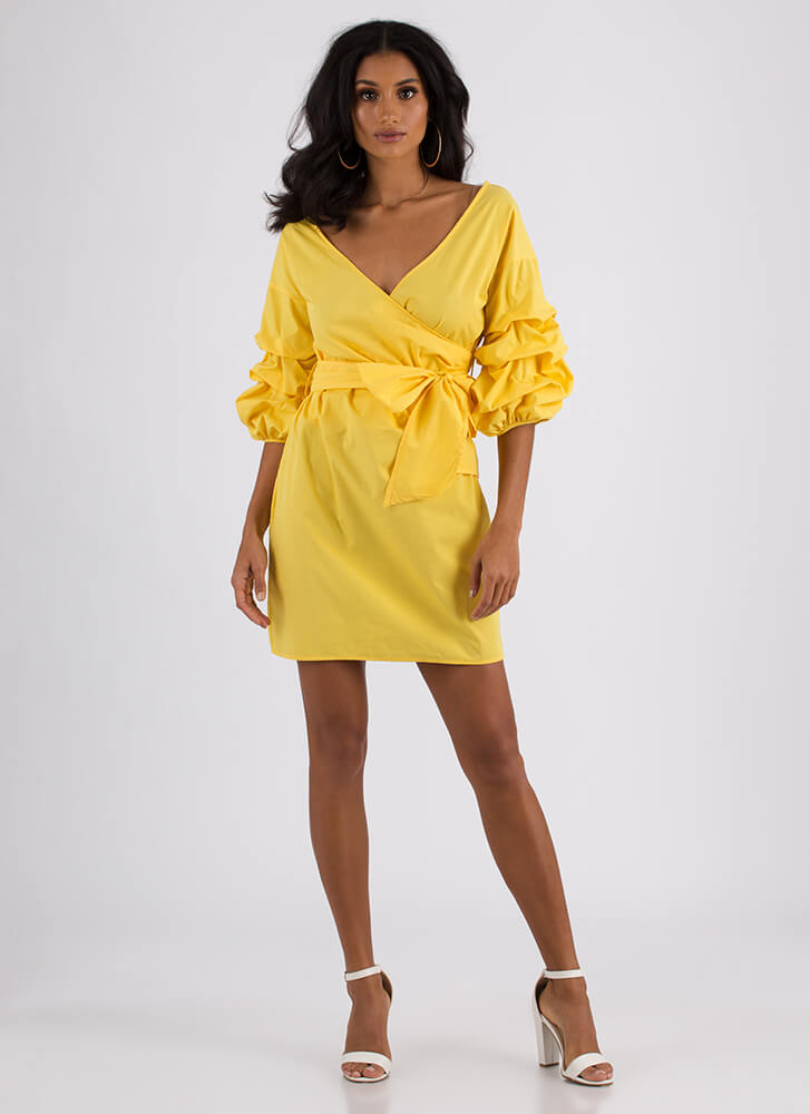 Wrap Icon Tied Puffy Sleeve Dress YELLOW