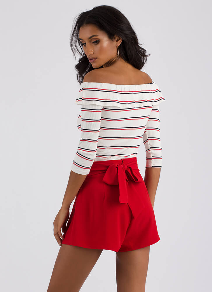 Pretty Pleats Tied Flared Shorts RED
