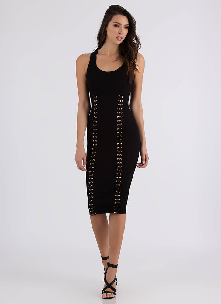 Luxe And Lace-Up Rib Knit Midi Dress BLACK