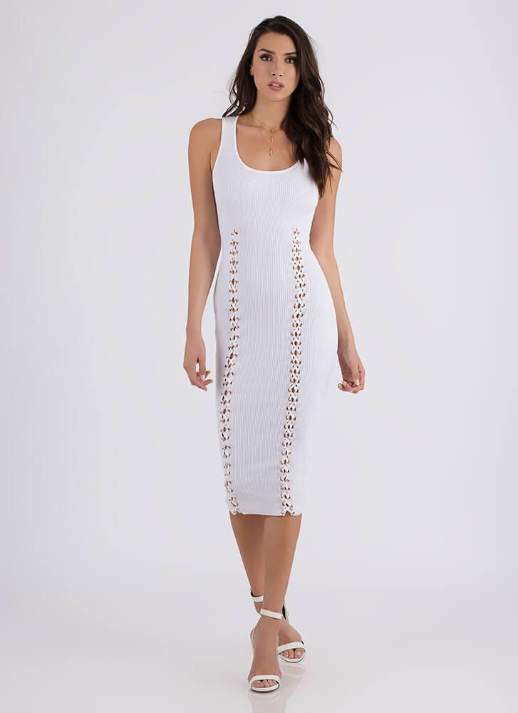 Luxe And Lace-Up Rib Knit Midi Dress WHITE