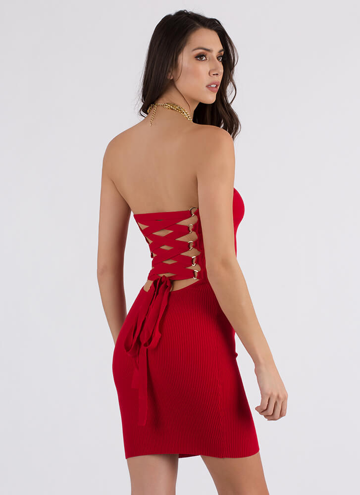New Corset Strapless Lace-Back Dress RED
