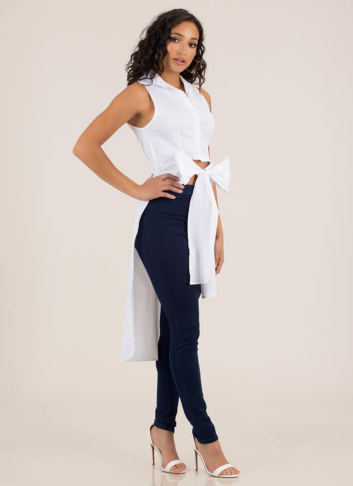 Ride My Shirttail High-Low Tied Bow Top WHITE