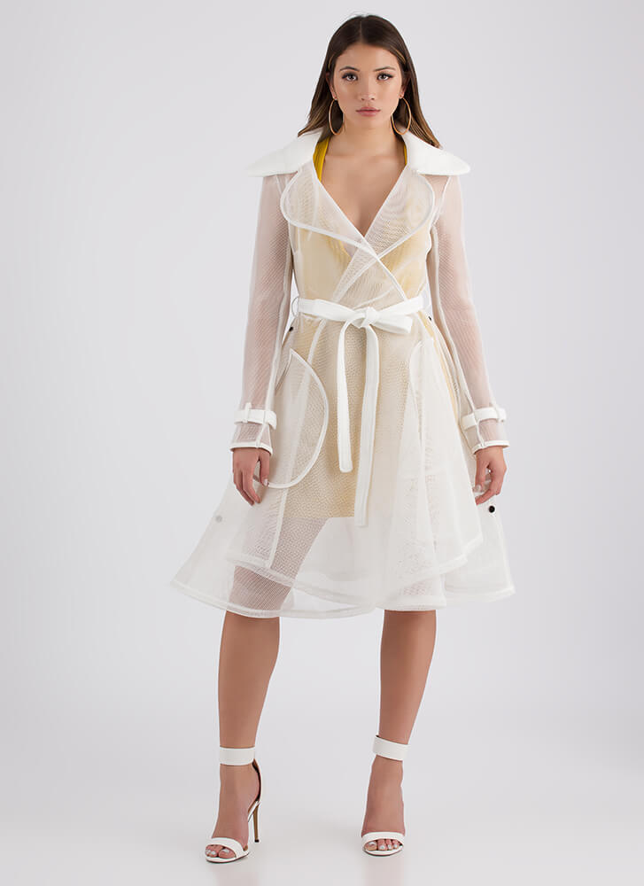 Flare For Drama Convertible Mesh Coat IVORY