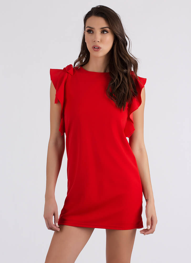 Yes Frills Ruffled Shift Minidress RED
