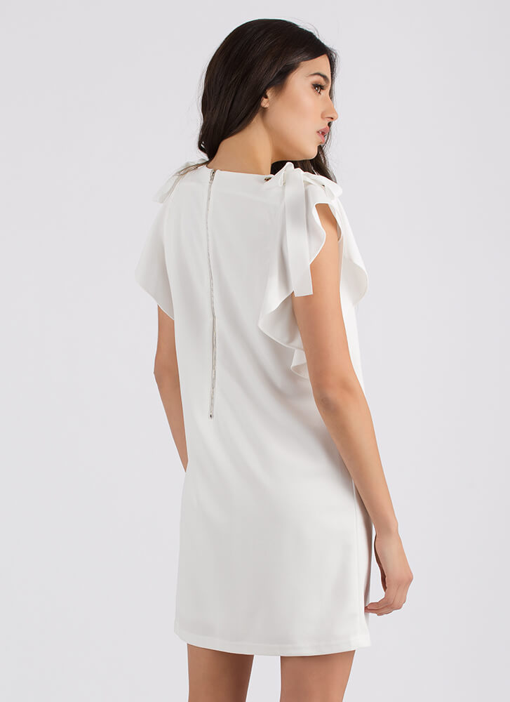 Yes Frills Ruffled Shift Minidress WHITE