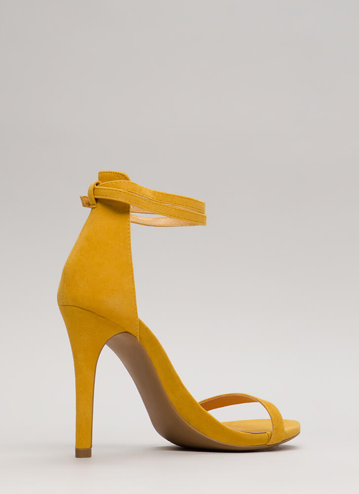 Double Your Pleasure Ankle Strap Heels YELLOW