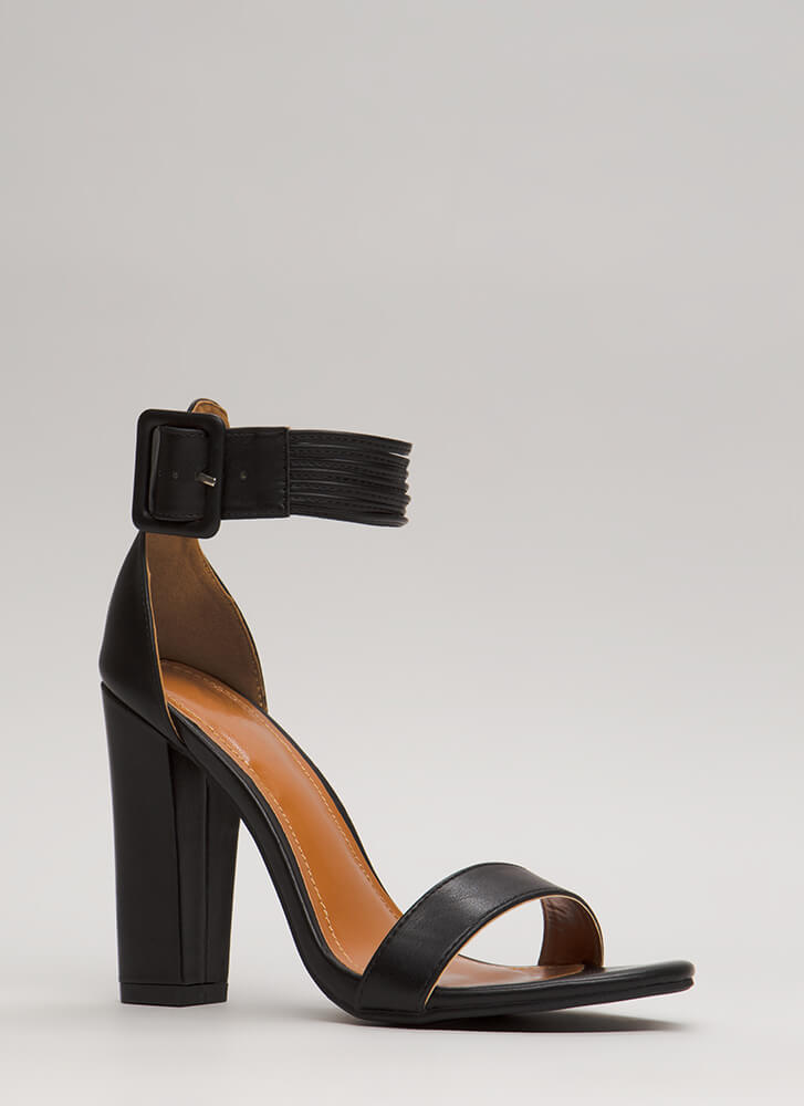 Re-Cord Yourself Strappy Chunky Heels BLACK