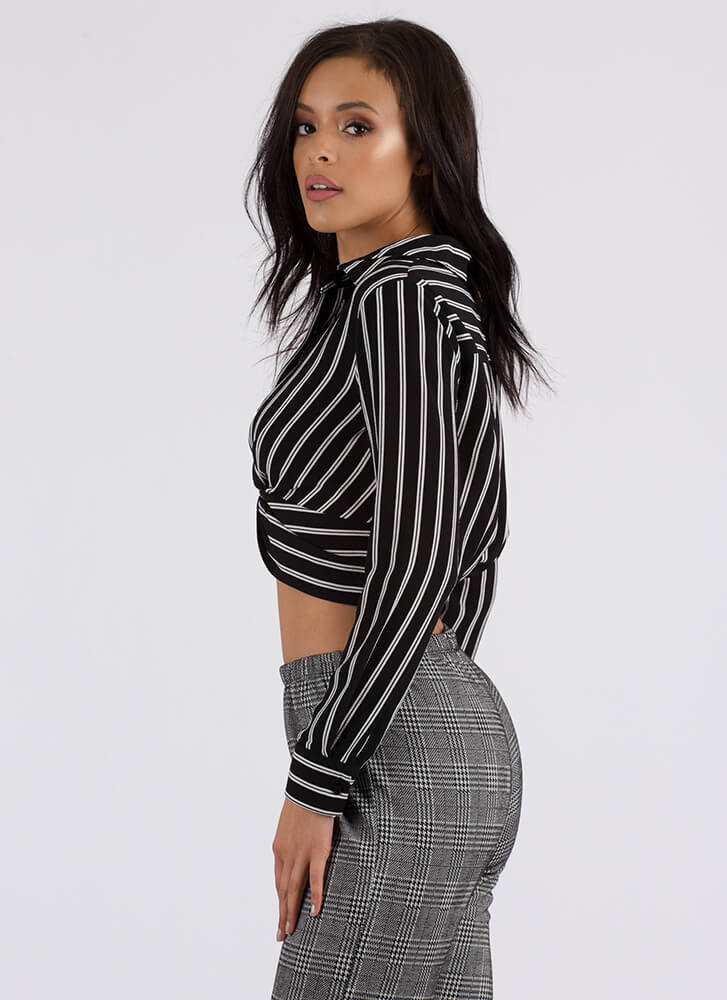 New Twist Striped Cropped Blouse BLACK