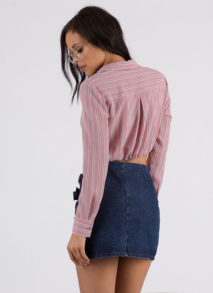 New Twist Striped Cropped Blouse MAUVE