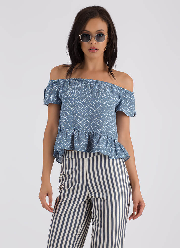Seeing Dots Ruffled Off-Shoulder Top LTBLUE