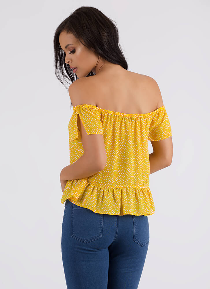 Seeing Dots Ruffled Off-Shoulder Top YELLOW