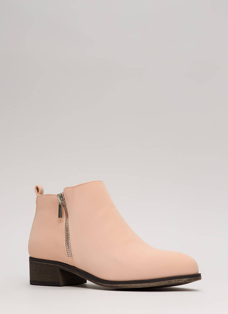 Just Flawless Faux Nubuck Booties BLUSH