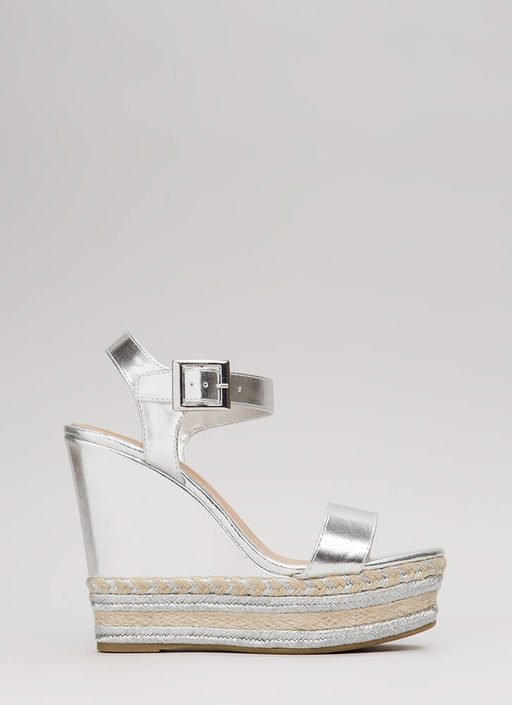 47958491d82 ... Shine Bright Braided Platform Wedges SILVER (You Saved  21) ...