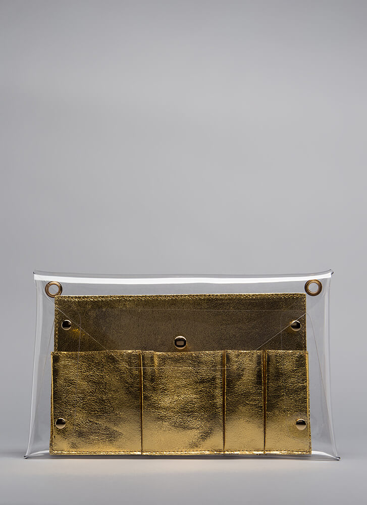 So Transparent Clear Envelope Clutch GOLD