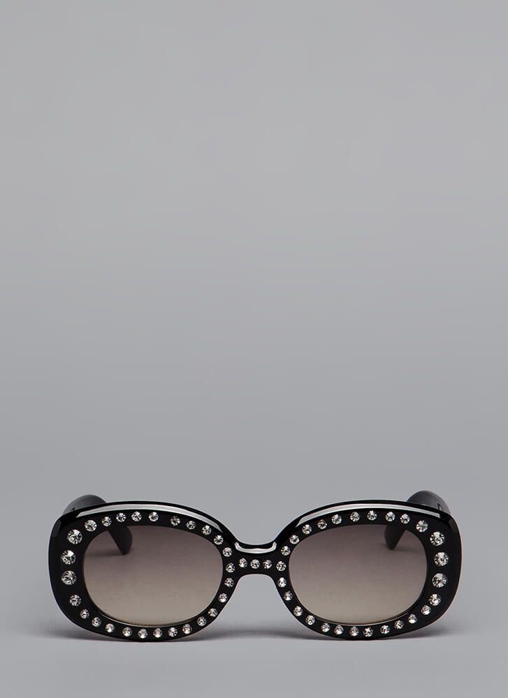 Sparkly Personality Jeweled Sunglasses BLACKBROWN