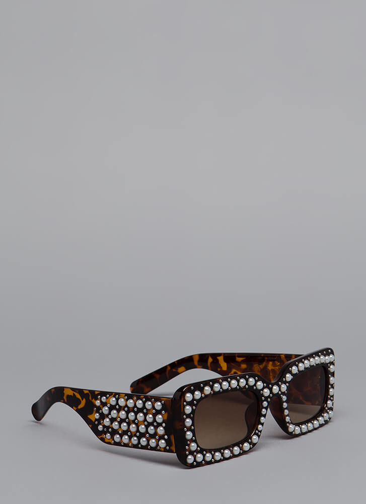 Celebrity Studded Faux Pearl Sunglasses BROWN
