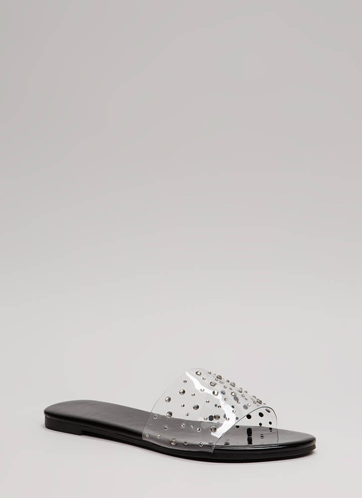 Clearly Fun Jeweled Faux Patent Sandals BLACK