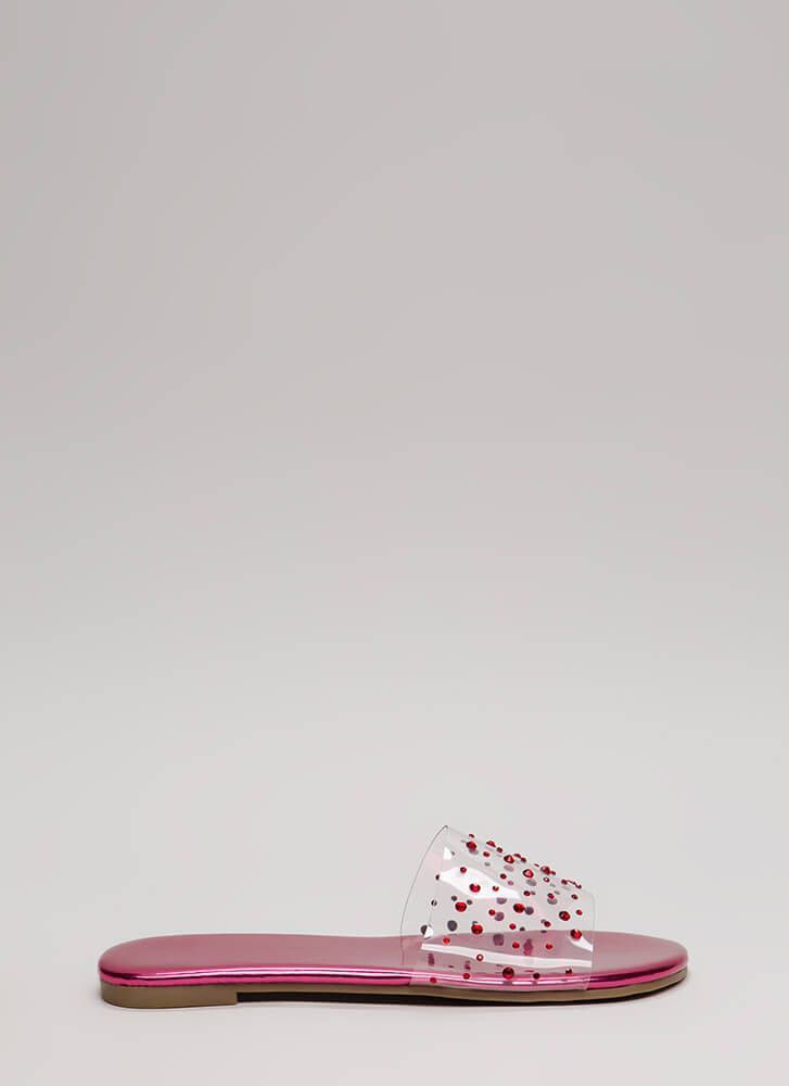 Clearly Fun Jeweled Faux Patent Sandals FUCHSIA