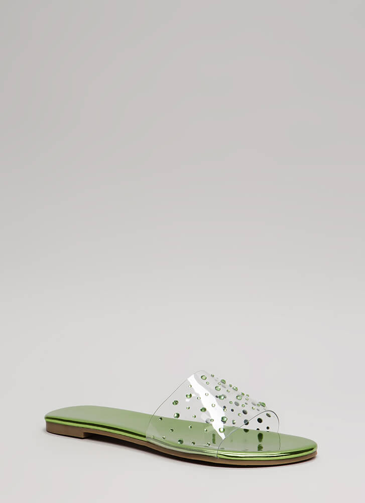 Clearly Fun Jeweled Faux Patent Sandals GREEN (Final Sale)