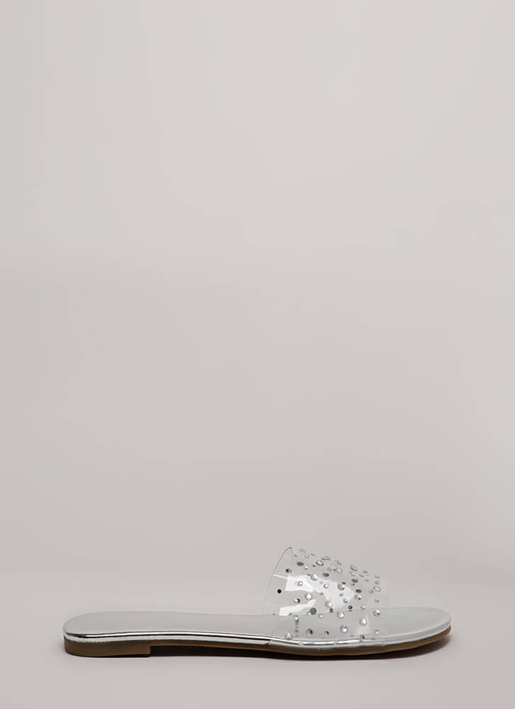 Clearly Fun Jeweled Faux Patent Sandals SILVER